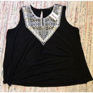 Black Tank Top with White Embroidered Neckline